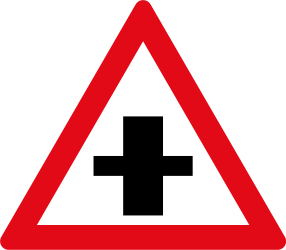 Traffic sign of South Africa: Warning for a crossroad side roads on the left and right