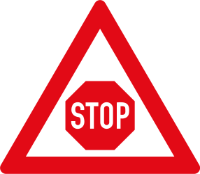 Traffic sign of South Africa: Stop and give way ahead