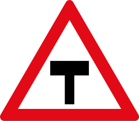 Traffic sign of South Africa: Warning for an uncontrolled T-crossroad