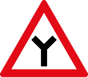 Traffic sign of South Africa: Warning for an uncontrolled Y-crossroad