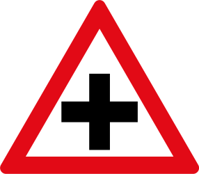 Traffic sign of South Africa: Warning for an uncontrolled crossroad