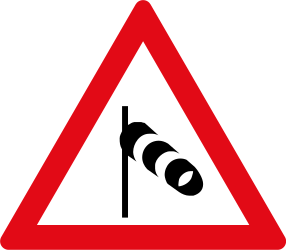 Traffic sign of South Africa: Warning for heavy crosswind