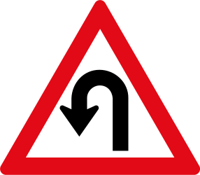 Traffic sign of South Africa: Warning for a U-turn