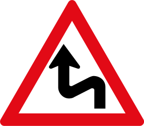 Traffic sign of South Africa: Warning for a double curve, first left then right