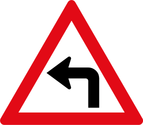 Traffic sign of South Africa: Warning for a sharp curve to the left