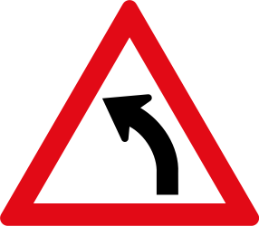 Traffic sign of South Africa: Warning for a curve to the left