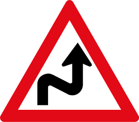 Traffic sign of South Africa: Warning for a double curve, first right then left
