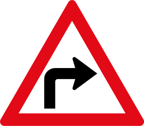 Traffic sign of South Africa: Warning for a sharp curve to the right