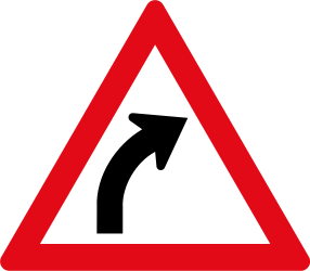 Traffic sign of South Africa: Warning for a curve to the right