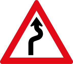 Traffic sign of South Africa: Warning for curves