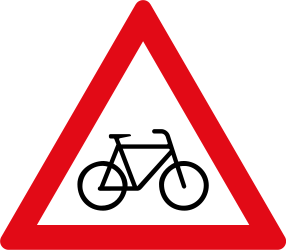 Traffic sign of South Africa: Warning for cyclists