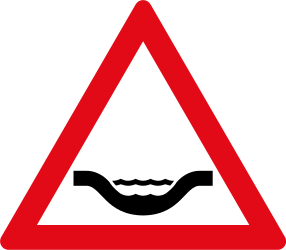 Traffic sign of South Africa: Warning for a dip in the road