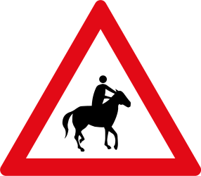 Traffic sign of South Africa: Warning for equestrians
