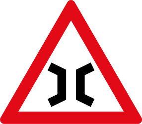 Traffic sign of South Africa: Warning for a narrowing