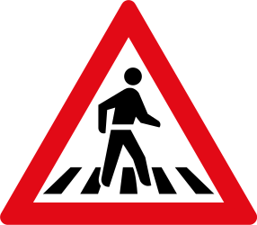 Traffic sign of South Africa: Warning for a crossing for pedestrians