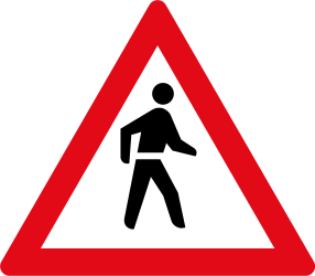 Traffic sign of South Africa: Warning for pedestrians