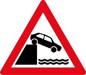 Traffic sign of South Africa: Warning for a quayside or riverbank