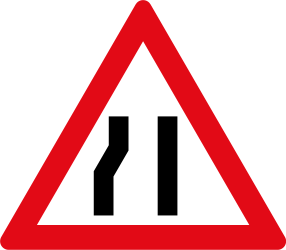 Traffic sign of South Africa: Warning for a road narrowing on the left