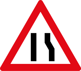 Traffic sign of South Africa: Warning for a road narrowing on the right