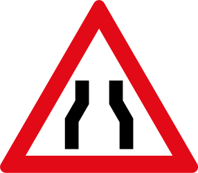Traffic sign of South Africa: Warning for a road narrowing