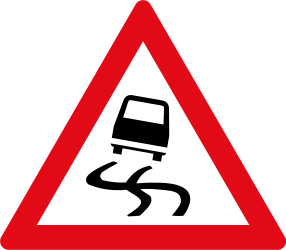 Traffic sign of South Africa: Warning for a slippery road surface