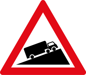 Traffic sign of South Africa: Warning for a steep ascent