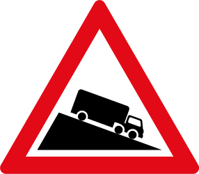 Traffic sign of South Africa: Warning for a steep descent