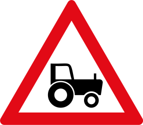 Traffic sign of South Africa: Warning for tractors