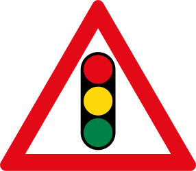 Traffic sign of South Africa: Warning for a traffic light