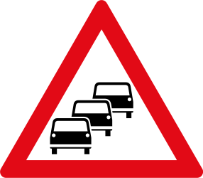 Traffic sign of South Africa: Warning for traffic jams