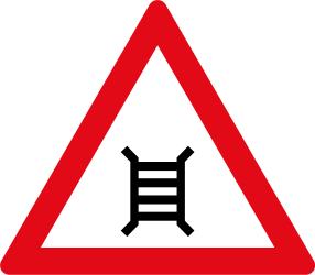 Traffic sign of South Africa: Warning for a railroad crossing with barriers