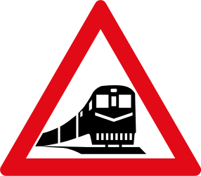 Traffic sign of South Africa: Warning for a railroad crossing without barriers
