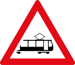 Traffic sign of South Africa: Warning for trams