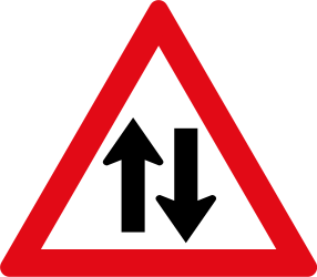 Traffic sign of South Africa: Warning for a road with two-way traffic
