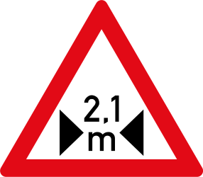 Traffic sign of South Africa: Warning for a limited width