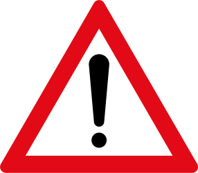 Traffic sign of South Africa: Warning for a danger with no specific traffic sign