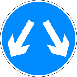 Traffic sign of Bangladesh: Passing left or right mandatory