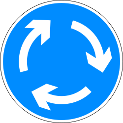 Traffic sign of Bangladesh: Mandatory direction of the roundabout