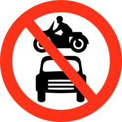 Traffic sign of Bangladesh: Motorcycles and cars prohibited