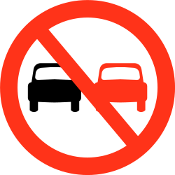 Traffic sign of Bangladesh: <a href='/en/bangladesh/overview/overtaking'>Overtaking</a> prohibited