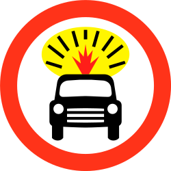 Traffic sign of Bangladesh: Vehicles with explosive materials prohibited