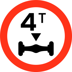 Traffic sign of Bangladesh: Vehicles with an axle weight heavier than indicated prohibited