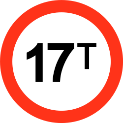 Traffic sign of Bangladesh: Vehicles heavier than indicated prohibited