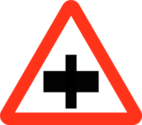 Traffic sign of Bangladesh: Warning for a crossroad, give way to all drivers
