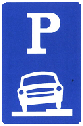 Traffic sign of China: Parking only allowed partly on the road