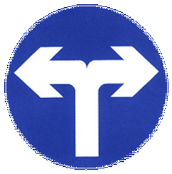 Traffic sign of China: Turning left or right mandatory