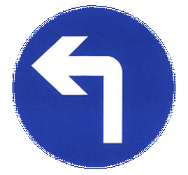 Traffic sign of China: Turning left mandatory