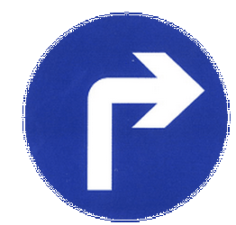 Traffic sign of China: Turning right mandatory