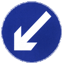 Traffic sign of China: Passing left mandatory