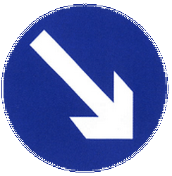Traffic sign of China: Passing right mandatory